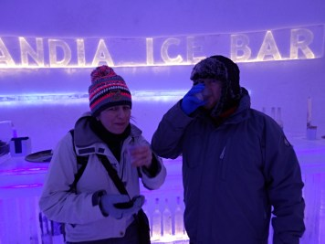 Drinking 'something local' at the Laplandia Ice Bar in Rovaniemi, Lapland