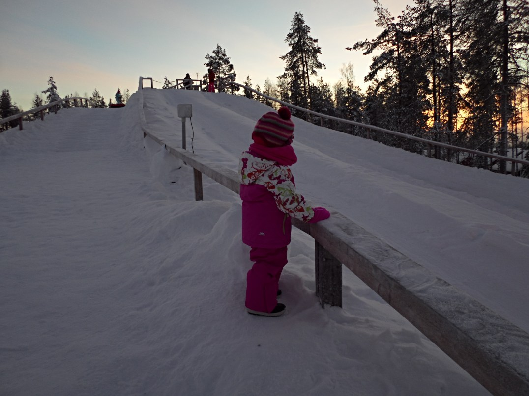 Giant snow slide in Snowman World at the Santa Claus Village in Rovaniemi, Lapland