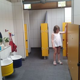 Children's toilet facilities at Camping Aaregg, Switzerland