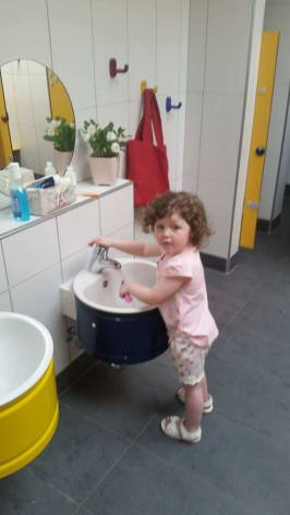 Children's wash facilities at Camping Aaregg, Switzerland
