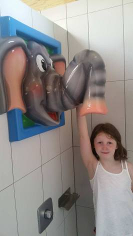 Elephant shower in the communal shower block at Camping Aaregg
