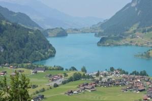 Sapphire blue lake in Switzerland