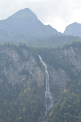 Cascading waterfall near Lake Brienz in the Swiss Alps
