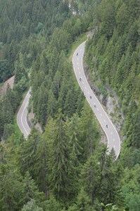 A birds eye view of motorcyclists on the Susten Pass