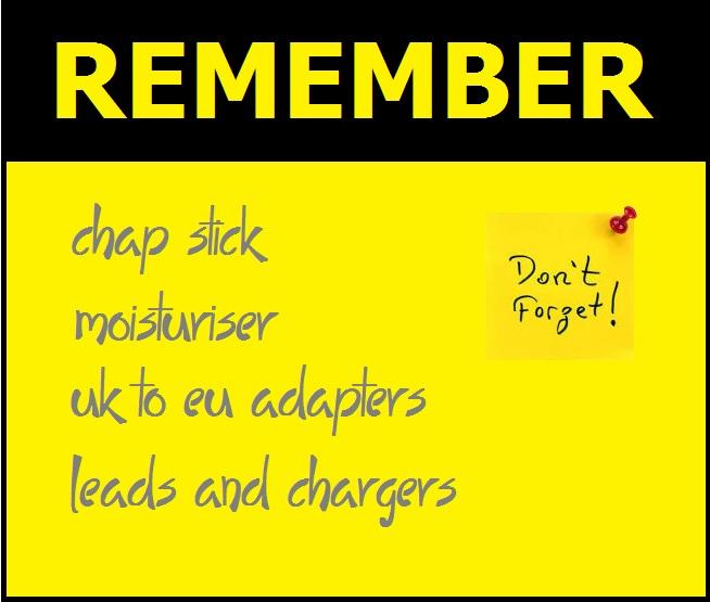 Remember check list