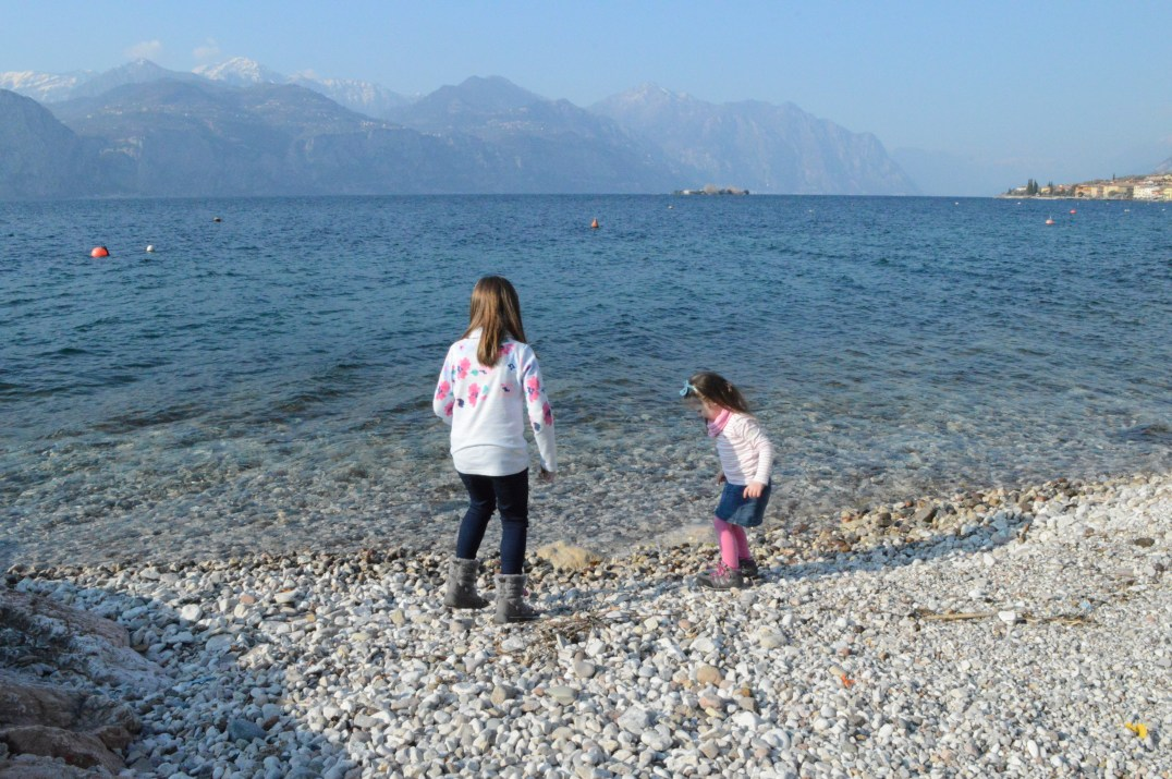 Skimming stones at Lake Garda, Italy