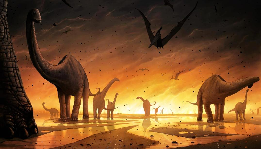 A giant meteor hits the earth and dinosaurs become extinct
