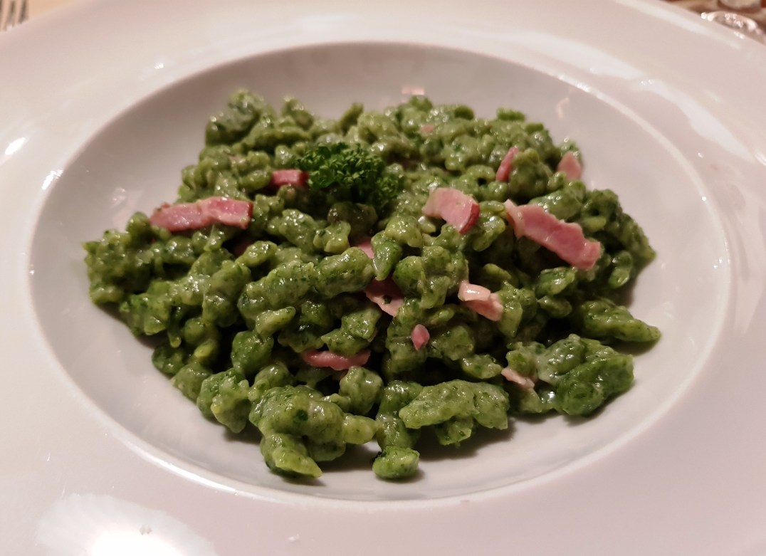 A plate of Späetzle served at Tito il Maso dello Speck