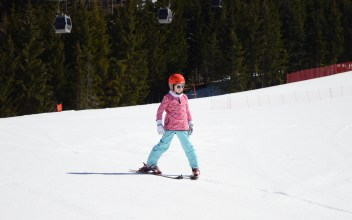 Lily-Belle skiing at Alpe Cermis