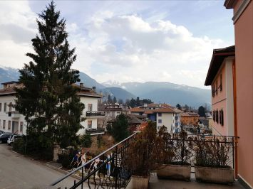 A view of Alpe Cermis from a balcony in Cavalese Town