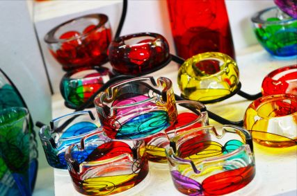 Colourful glassware on sale at Postojna Cave giftshop