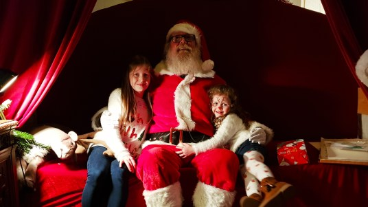 Lily-Belle and Matilda with Santa Claus at Winter Wonderland in Westport House, County Mayo