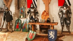 Suits of armour on display at Predjama Castle in Slovenia