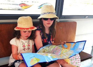 Matilda and Lily-Belle with a Venice tourist map