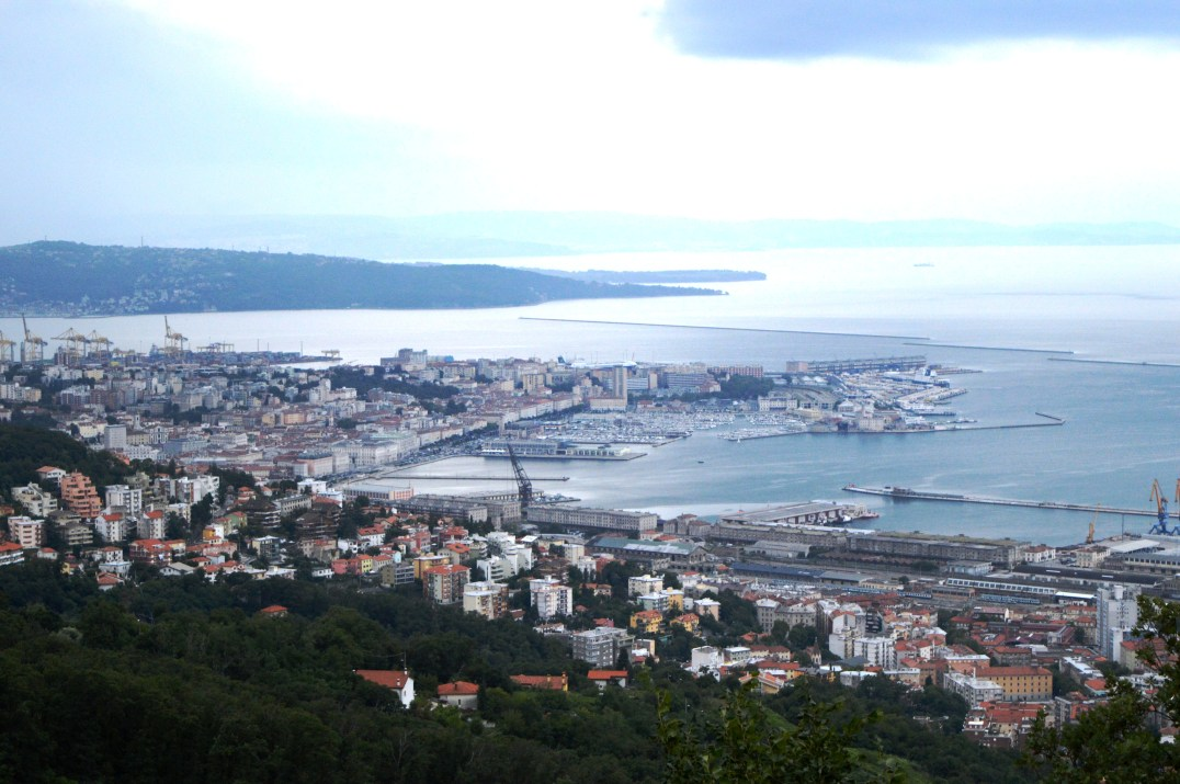 Aerial view of Trieste city