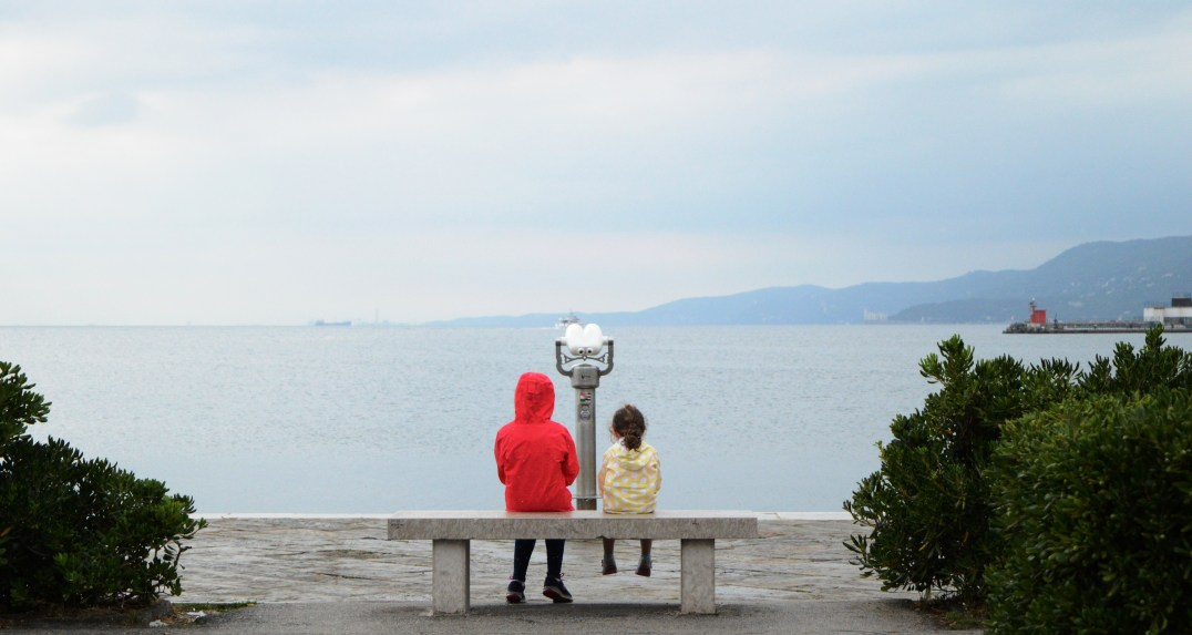 A park bench view of the Gulf of Trieste n the Adriatic Sea