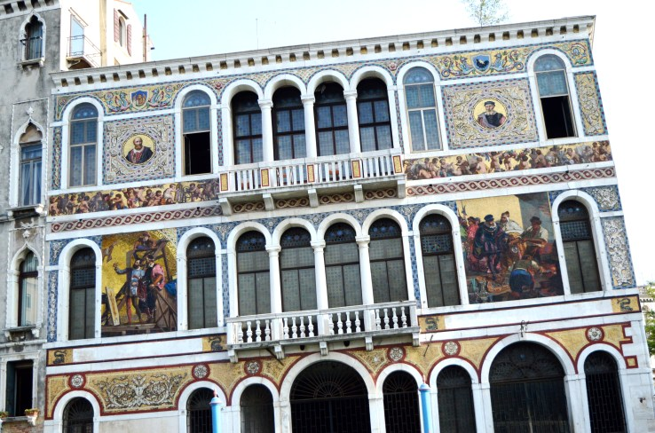 Building with beautiful designs along the Grand Canal in Venice