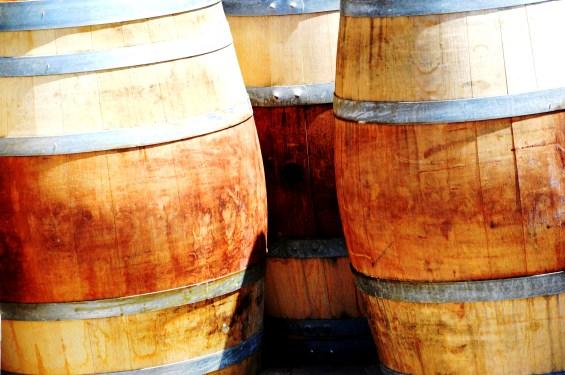 Oak barrels at Petra Winery in Tuscany