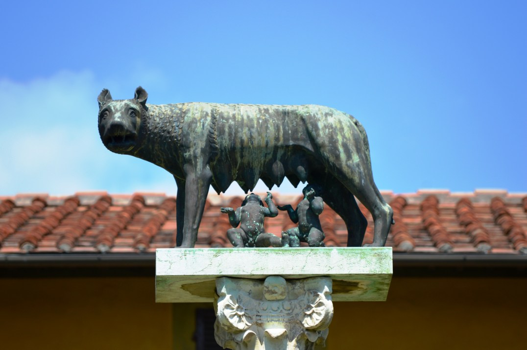 Capitoline Wolf suckling the mythical twin founders of Rome, Romulus and Remus.