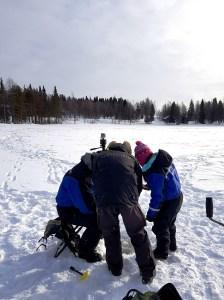 Fishing at Ruka Lake in Finnish Lapland