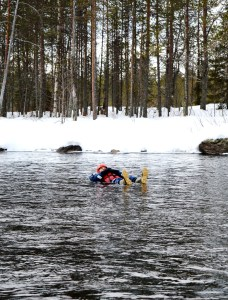Floating down the river in Ruka, Finland