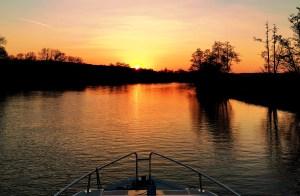 Sunset aboard Le Boat Crusader in Henley-on-Thames