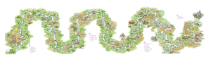 Colourful map of the River Thames cruise with Le Boar