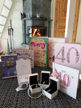 Mummy's 40th birthday pressies at A Cosy Cottage by the River in Rovaniemi