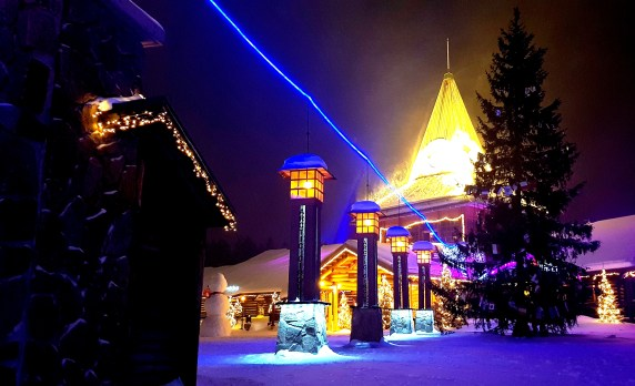 Crossing the Arctic Circle in Santa Claus Village in Rovaniemi, Finnish Lapland