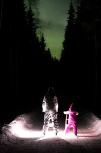 Kick Sleds and Northern Lights above A Cosy Cottage by the River in Rovaniemi