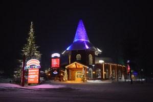 3 Elves Restaurant beautifully lit at Santa Claus Holiday Village in Rovaniemi, Finnish Lapland