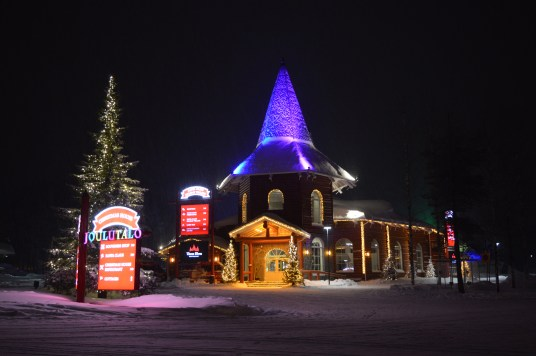 3 Elves Restaurant beautifully lit at Santa Claus Holiday Village in Rovaniemi, Finnish Lapland