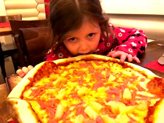 Pizza at the restaurant in Santa Claus Holiday Village, Rovaniemi