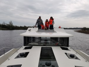 The Callaghan Posse on board the Horizon 4 with from Le Boat