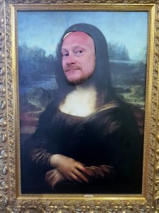 Daddy as the Mona Lisa at the Leonardo da Vinci Museum, Florence