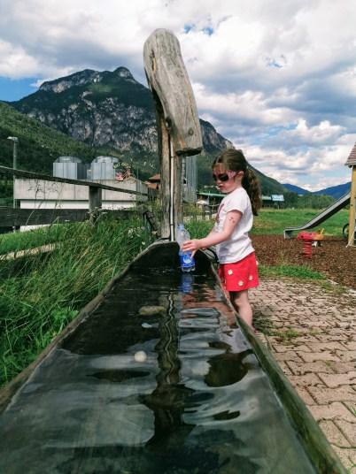Matilda having fun in the fresh mountain water
