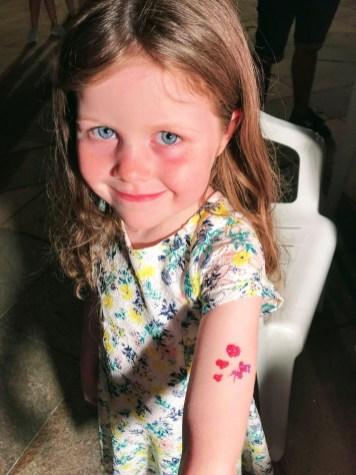 Matilda's tattoo at the Rai Radio Kids Street Festival
