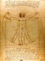 Vitruvian Man on display at the Leonardo da Vinci Museum, Florence