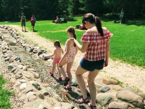 Treading in the stream at Giro D'Ali in Val di Fiemme