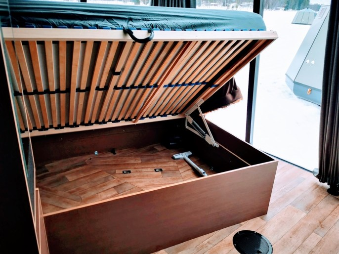 Under bed storage at Arctic Guesthouse and Igloos