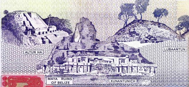 closeup detail of Belize 2 Dollar Banknote back, featuring Maya ruins
