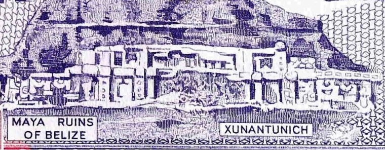 closeup detail of Belize 2 Dollar Banknote back, featuring Mayan ruins