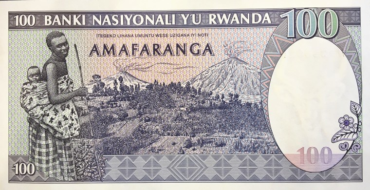 Rwanda 100 Francs Banknote, Year 1989 back, featuring volcanoes Karisimbi and Bisoke, and mother with child