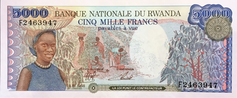 Rwanda 5000 Francs Banknote, Year 1988, front, featuring women harvesting coffee