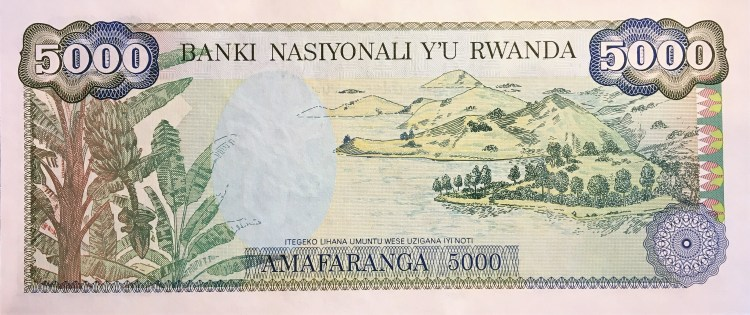 Rwanda 5000 Francs Banknote, Year 1988, reverse, featuring banana trees and Lake Kivu