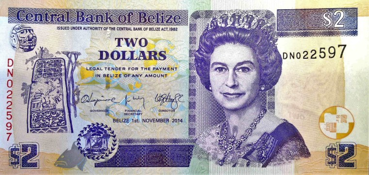 Belize 2 Dollar Banknote front, featuring portrait of queen elizabeth