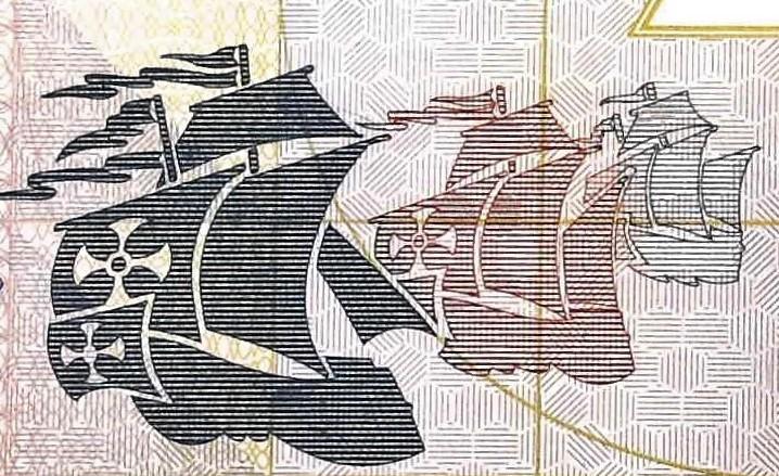 closeup detail of El Salvador 10 Colones front , featuring sailing ships