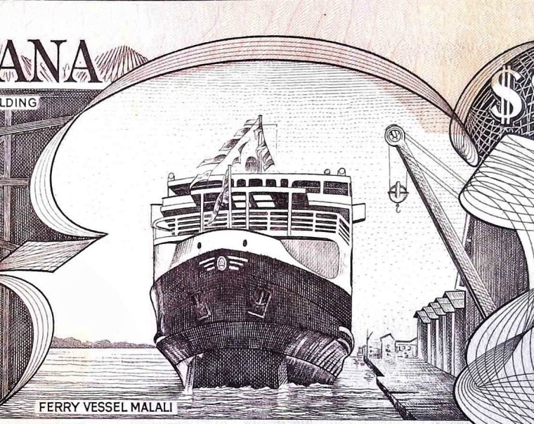 closeup ship details of Guyana 20 Dollar Banknote back