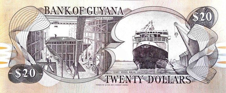 Guyana 20 Dollar Banknote back, featuring ship building