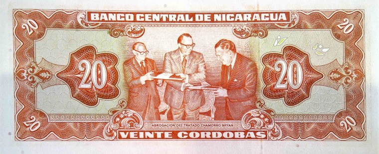 Nicaragua 20 Cordobas Banknote back, featuring the Abbrogation of the Chamorro – Bryan Treaty